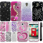 For LG Volt F90 LS740 Full DIAMOND BLING CRYSTAL HARD Case Phone Cover + Pen