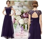NWT KATIE Aubergine Purple Lace Full Length Evening Cruise Ballgown Dress 6 - 18