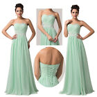 Strapless Womens Beaded Formal Evening Gown Prom Dress Wedding Party Long Dress
