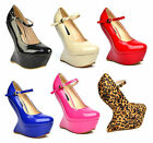 S72 - Ladies Mary Janes Patent Curve Heel High Wedge Shoes - UK 3 - 8