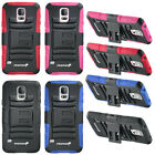 Hybrid Grip Case Cover with Stand and Belt Clip Holster For Samsung Galaxy S5 SV