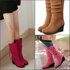 Stylish Women's Mid Calf Faux Suede Wedge Heel All US Sizes Cute Sweet Boots New