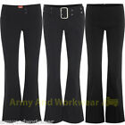 Ladies Stretch Hipsters Plain Trousers Pants Smart Casual Office Work School New