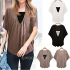 3 COLOR Plus Size Loose Women V Neck Batwing Sleeve TEE Shirt Top Blouse UK Ship