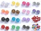 20pcs Sparkling AB RESIN Rhinestones Round Ball Spacer BEADS - Choose 12MM 14MM