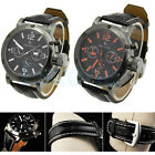 New Fashion Men's Sport Analog Quartz Black Leather Band Wrist Watch