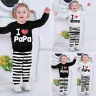 Baby Love Papa/Mama white T-shirt Tops striped Pants 2 pieces set 1-8Y N98B