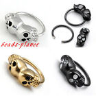 1x Punk Gothic Double Skull Nose Lip Nipple Eyebrow Ring Bar Hoop Piercing Gift