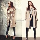 Korean Women Long Coat Jacket Belt Thin Slim Tunic Trench Windbreaker Outwear NB