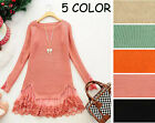 Sweet Crochet Lace Skirt Hem Knit Sweater Pullover Top S M #TLE