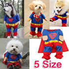 Fashion Superman Suit Pet Puppy Cat Dog Costume Cotton Clothes Fancy DRESS XS-XL