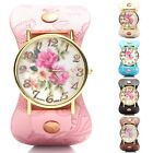 New Fashion Flower Painted Leatheroid Band Womens Watch Quartz Wristwatches Gift