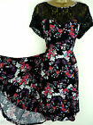 PLUS SIZE RETRO TEA DRESS BLACK RED WHITE FLORAL SWING 16 18 20 22 24 26 28