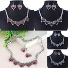 Fashion Womens Chunky Statement Bib Collar Chain Necklace Heart Pendant Earrings