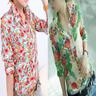 Hot Sell Fashion Women Floral Chiffon Slim Long Sleeve Shirt Tops Blouse T-shirt