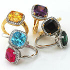 Gold & Sterling Silver Cushion Cut Cocktail Rings ~ Six Colour Choices!