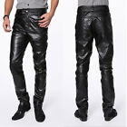 New Mens Sexy Hi-Quality PU Faux Leather Slim Fit Black Trousers Pants USA Stock