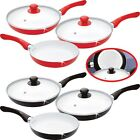 5PC CERAMIC COATED FRYING PAN SET & 2 GLASS LIDS NON STICK ALUMINIUM COOKING FRY