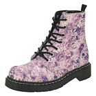 T.U.K. Pink & Purple Floral Roses 7 Eye Zipped Vegan Anarchic Ankle Combat Boots
