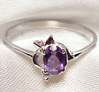 Genuine Faceted Oval Amethyst .925 Sterling Silver Ring -- AM887