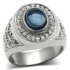 Handsome New Stainless Steel Men's Dark Sapphire Blue Cabochon Ring - Sizes 8-13