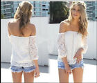 Loss Sales Nice White Lace Off-shoulder Loose Tops Casual T-Shirt Blous New