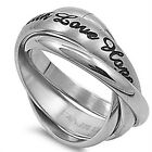 Stainless Steel Russian Rolling Style Faith Love Hope Message Ring Sizes 6-11