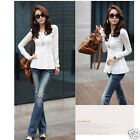 Lady  Slim Cozy  Long Sleeve Lace Peplum Jumper Top Blouse T-Shirt
