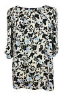 New Ladies Black Blue Floral Print Bow Sleeve Tunic Top Plus Size 16 - 28