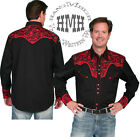 P-634-ds Scully Western Cowboy Snap Shirt Embroidery Gun Fighter Tomato Retro