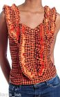 Orange/Black Plaid Button Front Ruffle Tank Top