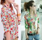 Floral Women Long Sleeve OL Shirt Blouse Dress Shirt Casual Shirts Tops Clubwear