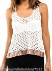 White Open Crochet Sequin Hem Mesh Racerback Back Sleeveless/Tank Top S M L