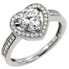 925 Sterling Silver Romantic Forever Love Heart Shaped Clear CZ Ring Sizes 3-11