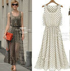 New women Chiffon sleeveless Long  Maxi Polka Dot skirt summer dress 3 colors