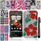 For HTC Incredible ADR6300 DIAMOND BLING CRYSTAL HARD Case Phone Cover + Pen
