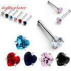 1PC Chic Punk Heart Stainless Steel Nose Stud Ring Earring Body Piercing Jewelry