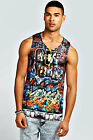 Boohoo Mens New York Sublimation Printed Sleeveless Top Vest in Multi