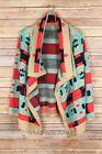 CORAL AQUA BLUE Taupe TRIBAL CARDIGAN Aztec Print Sweater 1X 2X 3X PLUS SIZE