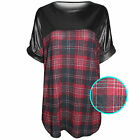 NEW LADIES WOMENS TARTAN CHECK WET LOOK TOPS BLACK PU T-SHIRT LONG BASEBALL
