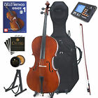 Cecilio Solidwood Cello 4/4 3/4 1/2 1/4 1/8+Soft & Hard Case+Tuner+Book ~CCO-200