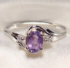 Genuine Faceted Oval Amethyst .925 Sterling Silver Ring -- AM898
