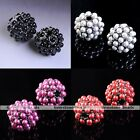5x Faux Pearl Pave Metal Round Ball Spacer Loose Bead Jewelry Making Finding DIY