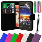 PU Leather Wallet Flip Case Cover, Film & Stylus Pen For Vodafone Smart 4 Mini