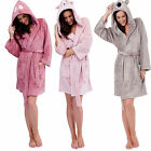 Womens Ladies Warm Winter  Dressing Gown Bath Robe Hood hooded animal Ears LN626