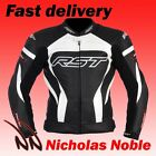 RST TRACTECH EVO 1017 LEATHER CE ARMOURED SPORTS MOTORBIKE JACKET WHITE BLACK