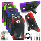 For Boost Mobile LG Realm Rugged Cover Stand+ USB Charger +Screen Guard+ Pen4in1