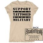 Women's Tattooed Military by Steadfast Brand Support Troops Tan T-Shirt