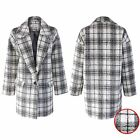 NEW LADIES CHECK BOYFRIEND COAT WOMENS LINED DUSTER JACKET WOOL LOOK LONG BLAZER