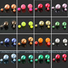 Fashion Charm Celebrity Double Faux Pearl Beads Ball Plug Ear Studs Earrings Pin
